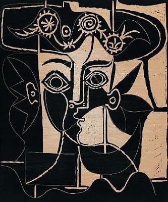 Jackeline 1962+portrait-of-jacqueline con sombrero de flores+Museu Picasso, Barcelona, Spain
